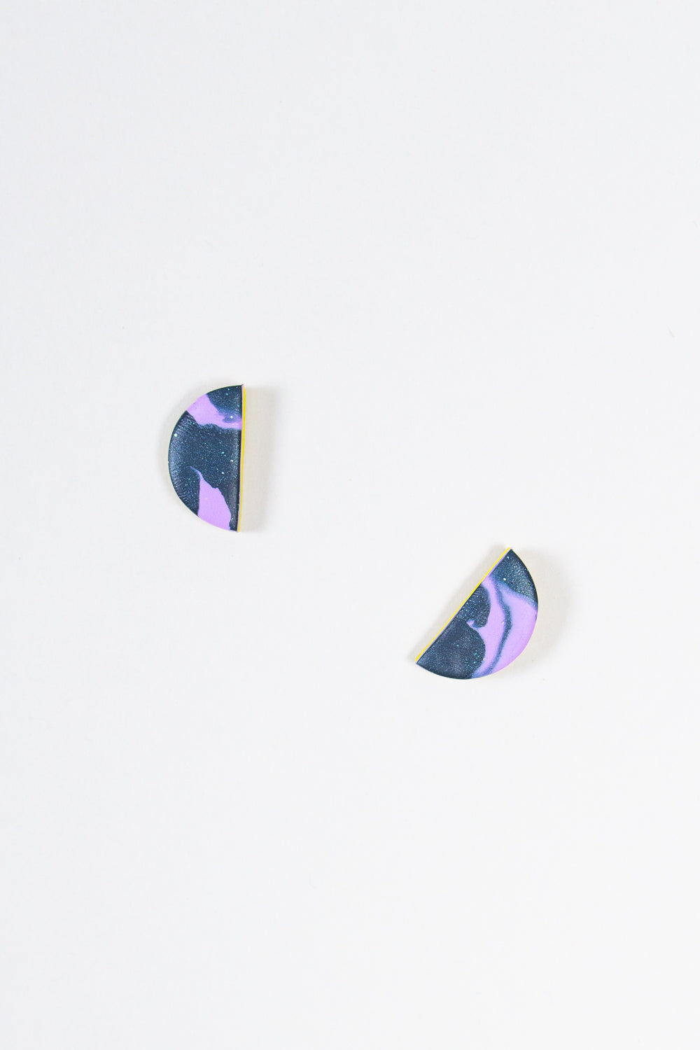 Mini Moon Earrings in Purple Neon