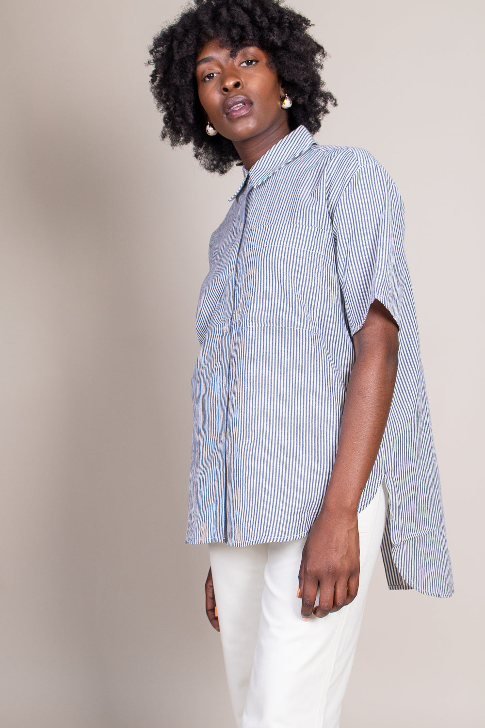 Iza Button Down in Cream Navy Stripe