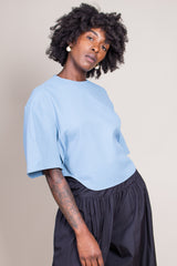 Chalky Drape Sculpted Top in Sea Blue