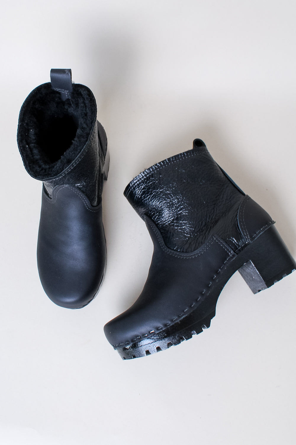Shearling Clog Boot in Black Aviator