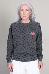 Crewneck in Faded Black/Navy Jaguar with Poppy Lips