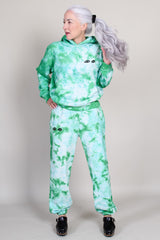 Hoodie in Green/Pale Blue Tie Dye with Black Eyes