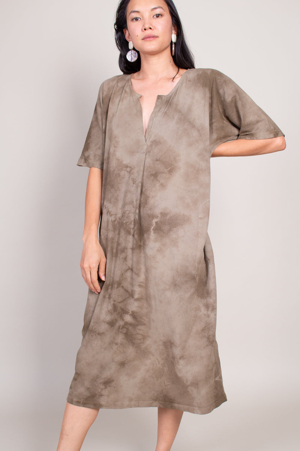 Henley Dress in Army Tie Dye