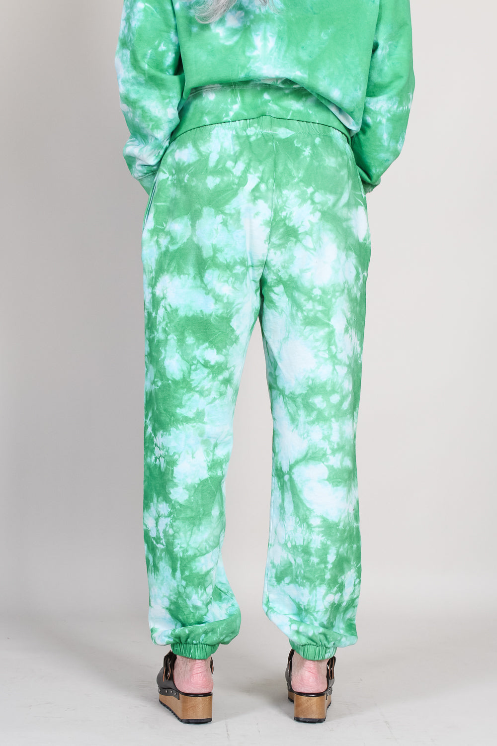 Sweatpants in Green/Pale Blue Tie Dye with Black Eyes