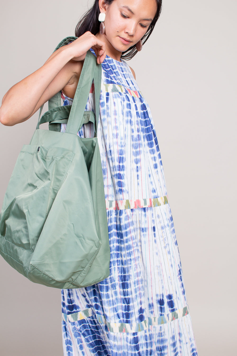 Aviator Nylon Slouchy Tote in Sage