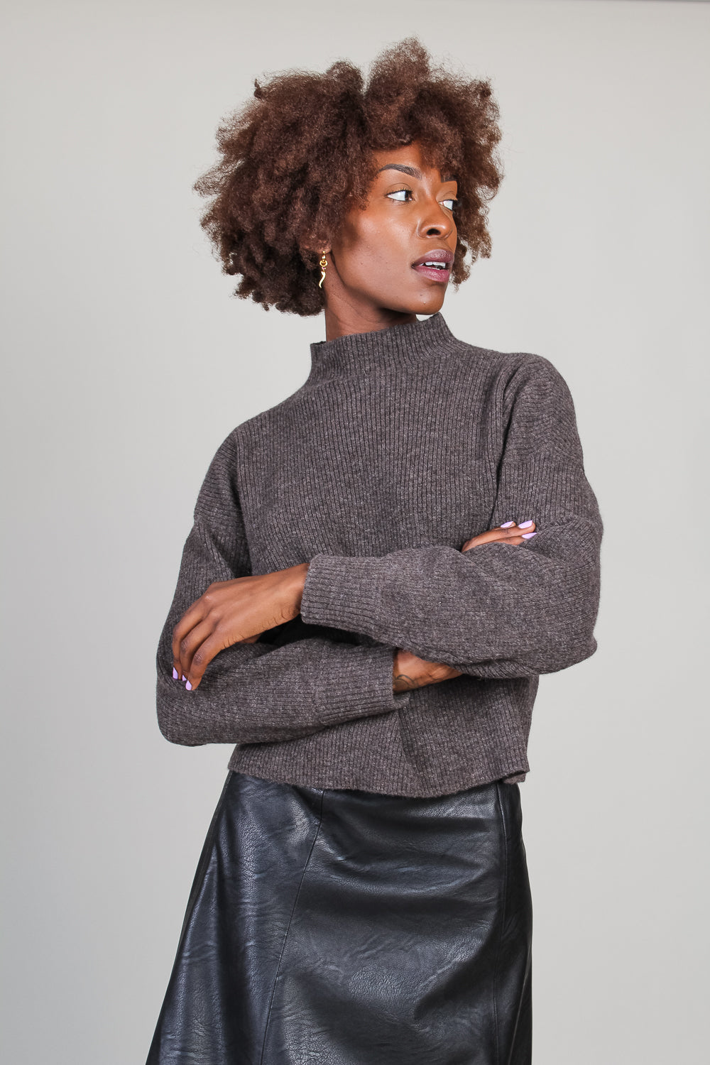 Ribbed Mock Neck Sweater in Expresso
