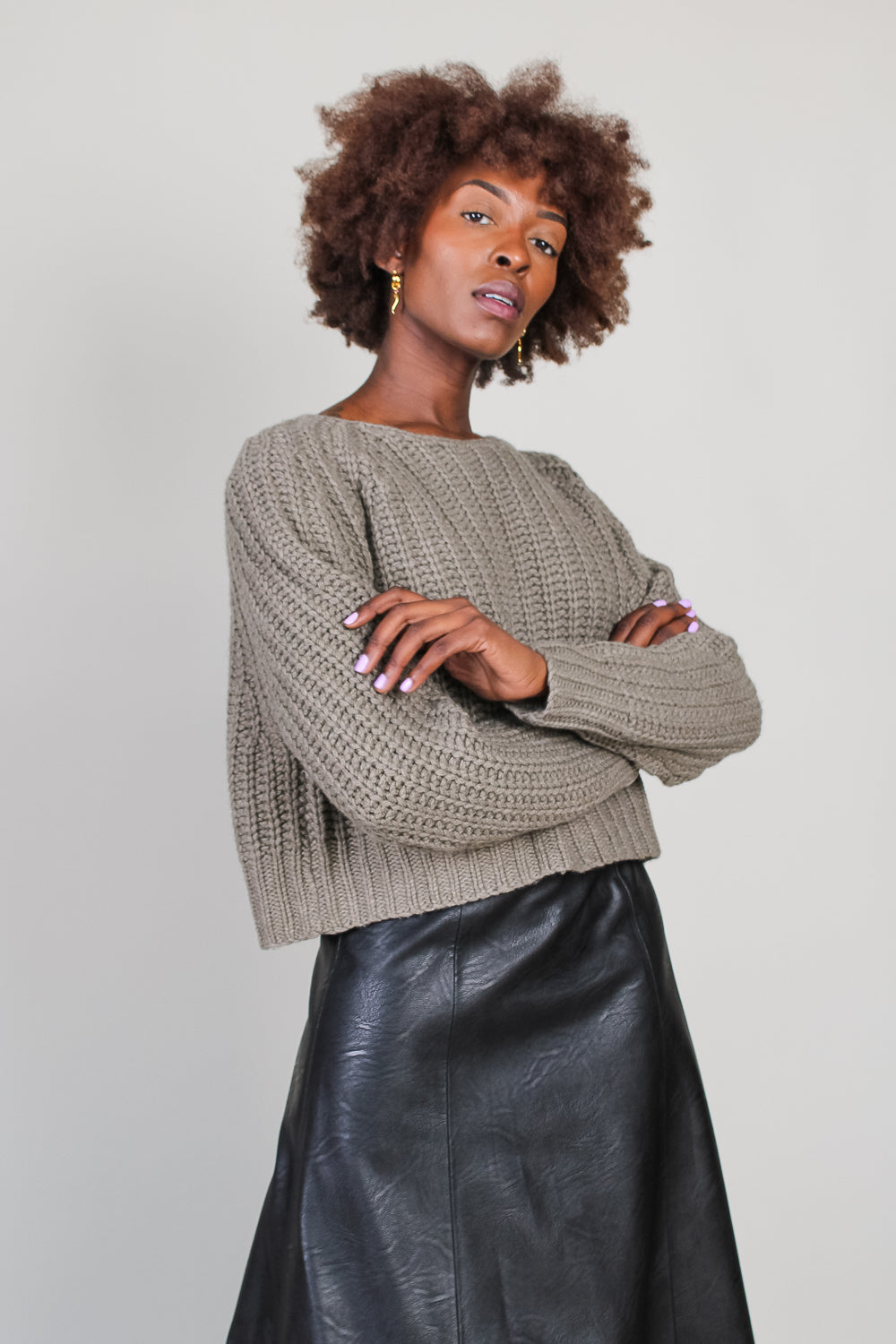 Chunky Cropped Jumper in Gray