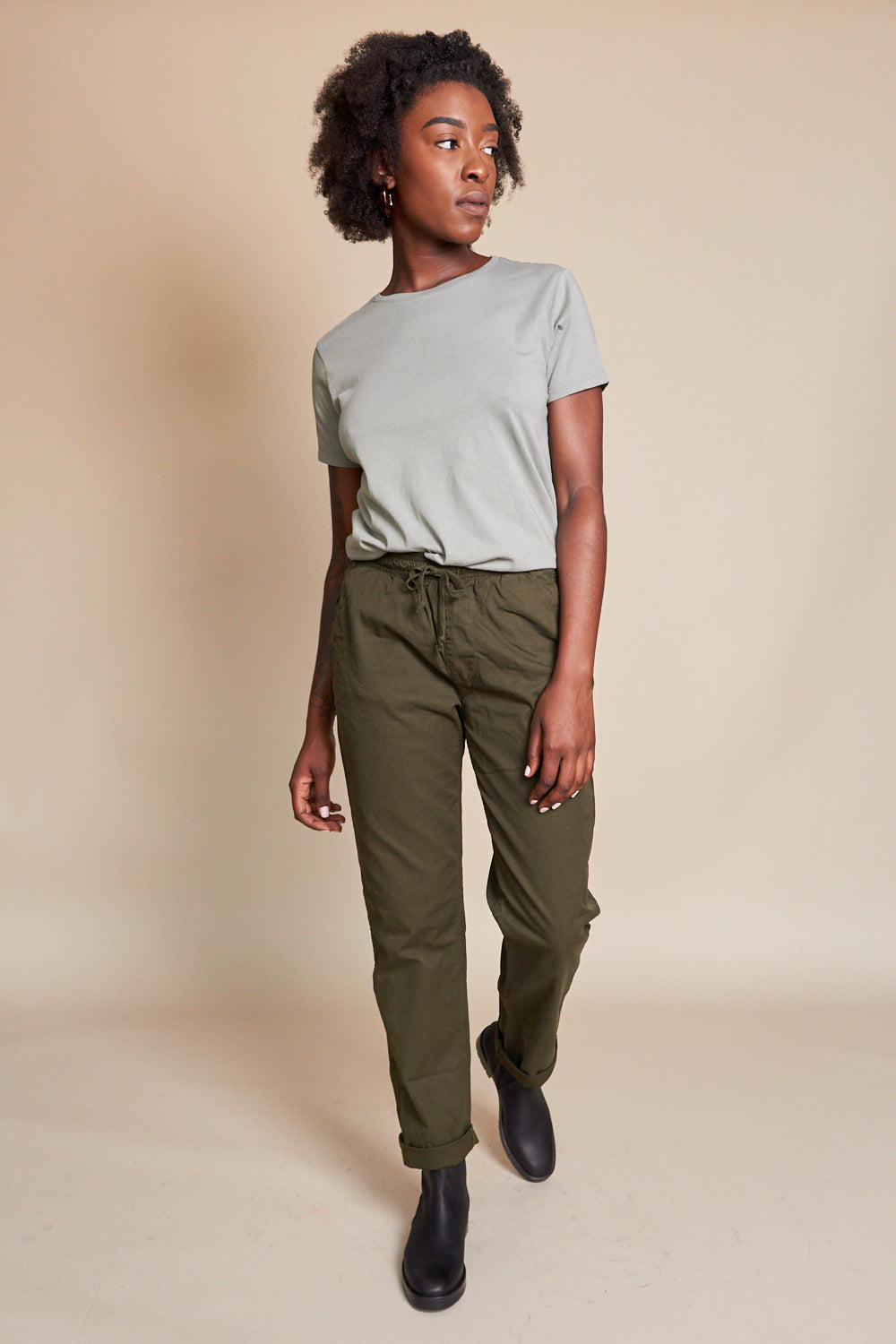Save Khaki United Organic Cotton Layering Crew in Sprout - Vert & Vogue