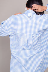 Relaxed Blouse in Light Blue Gingham