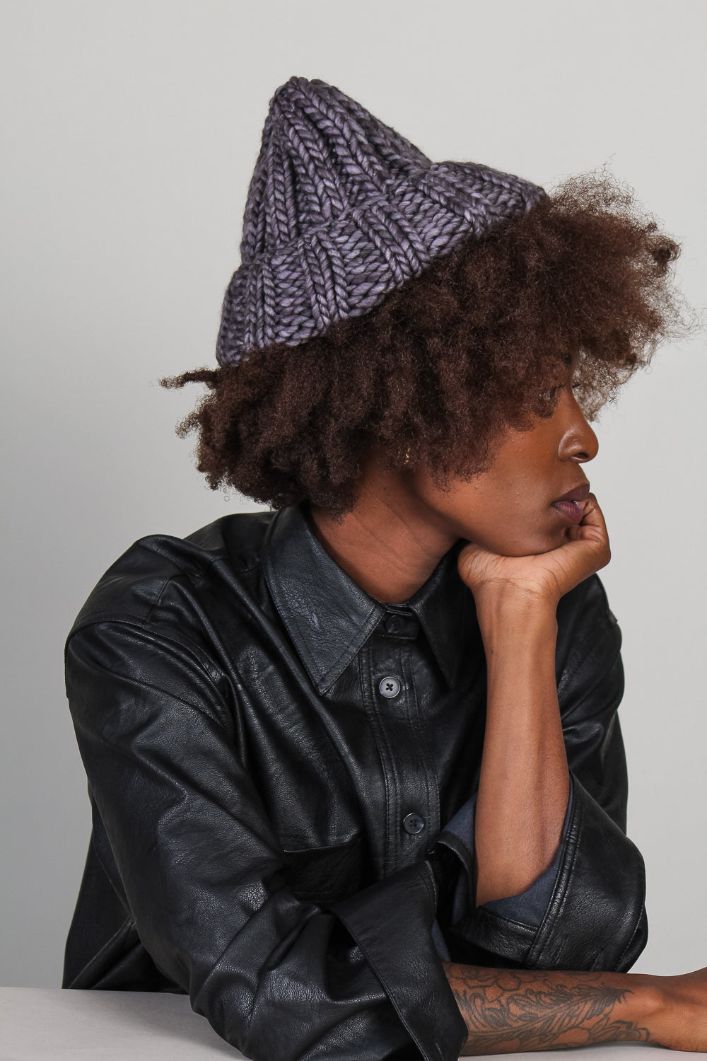 Fold Hat in Smoke Purple