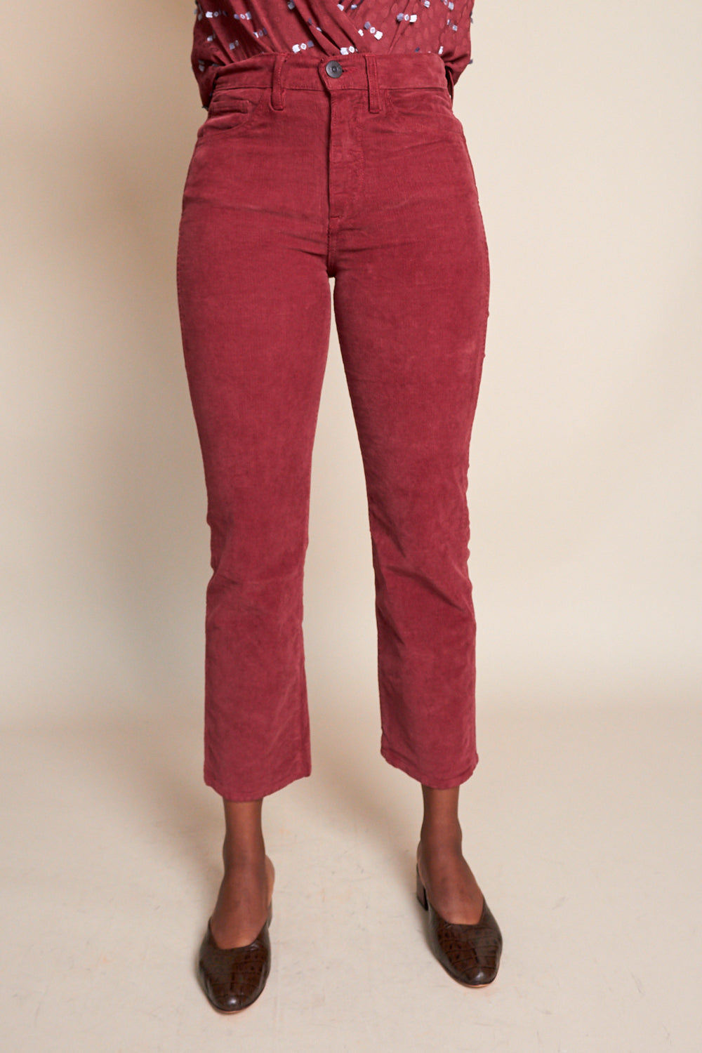 Austin Crop Cord in Crimson
