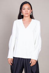 Chalky Drape LS Top in Ivory