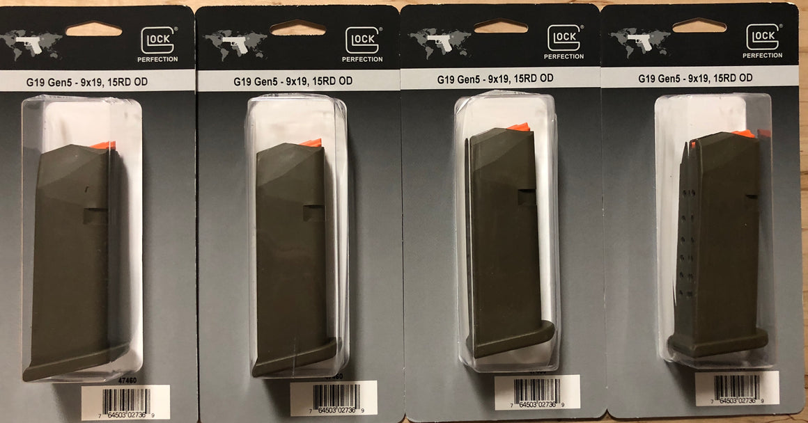 Glock 19 OD Green 9mm 15rd Gen 5 Factory Magazine - Bone Frog Gun Club