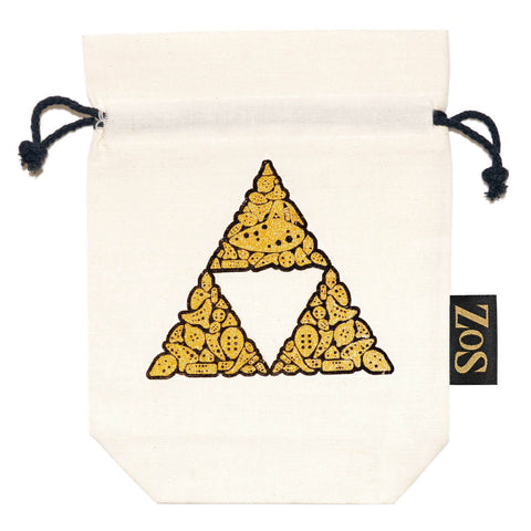 Zelda Inspired Drawstring Bag - White / Gold Triforce - ZoS - Premium Gaming Memorabilia