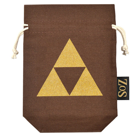 Zelda Inspired Drawstring Bag - Brown / Gold Triforce - ZoS - Premium Gaming Memorabilia