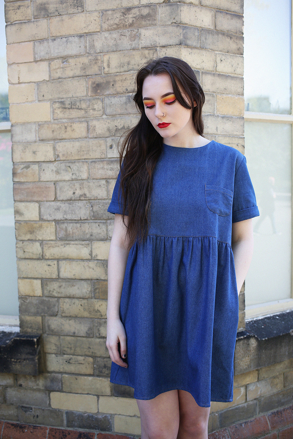 Anna denim smock dress