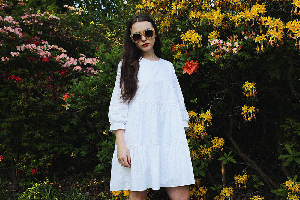 Agathe white spotted summer dress