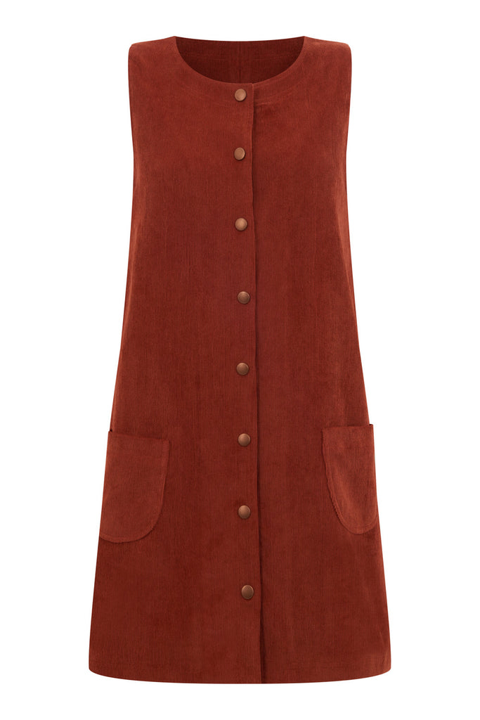 Twiggy Burnt Orange Corduroy Pinafore