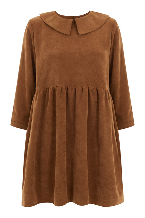 Cara Mustard Corduroy Smock Dress