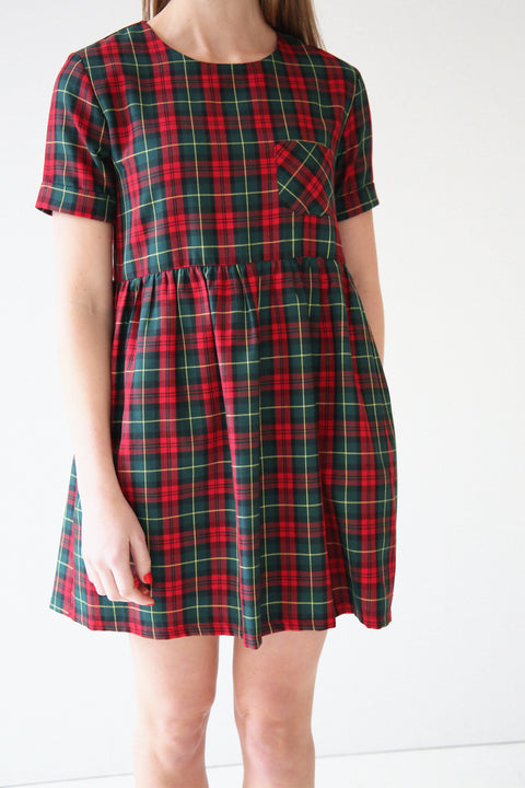 Bethany Red and Green Tartan Smock