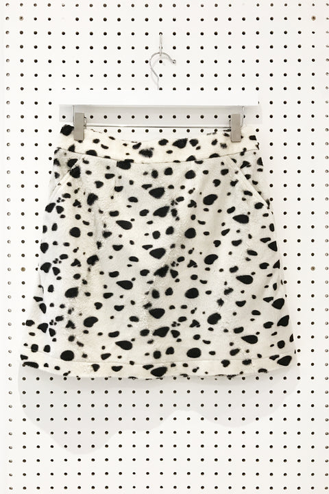 Dakota Faux Fur Skirt- Dalmatian