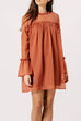 Rosa Pink Flare Sleeve Smock Dress