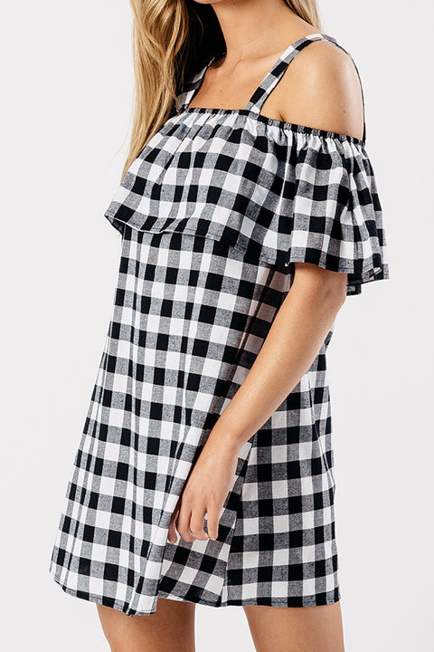 Gingham Cold Shoulder Dress