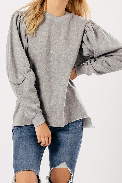 Grey Balloon Sleeve Sweater
