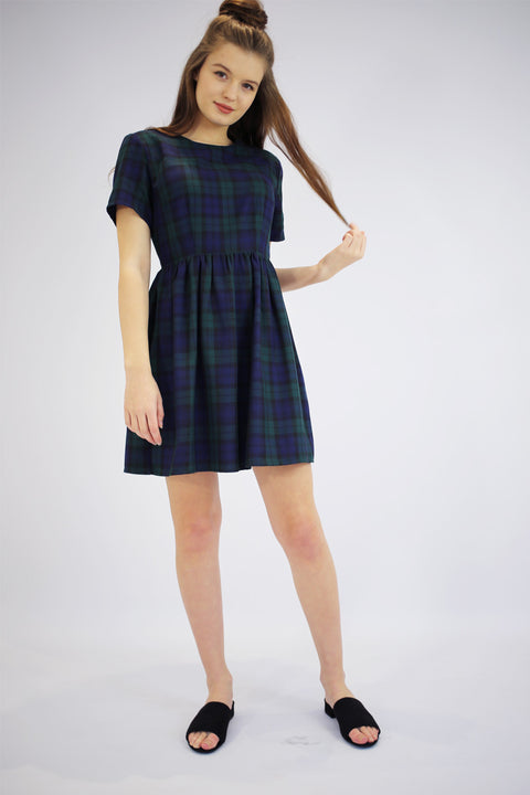 Halsey Green Tartan Skater Dress
