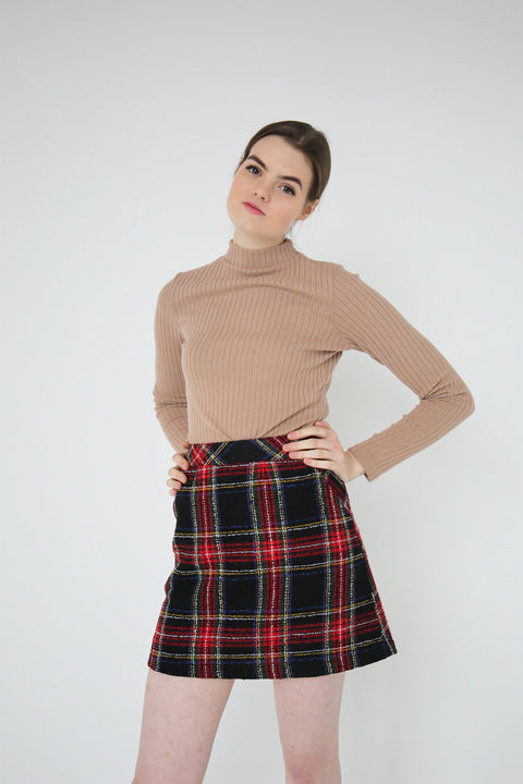 Holly Tartan Wool A-line Skirt