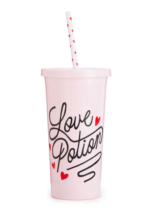 Sip Sip Tumblr with Straw- Love Potion