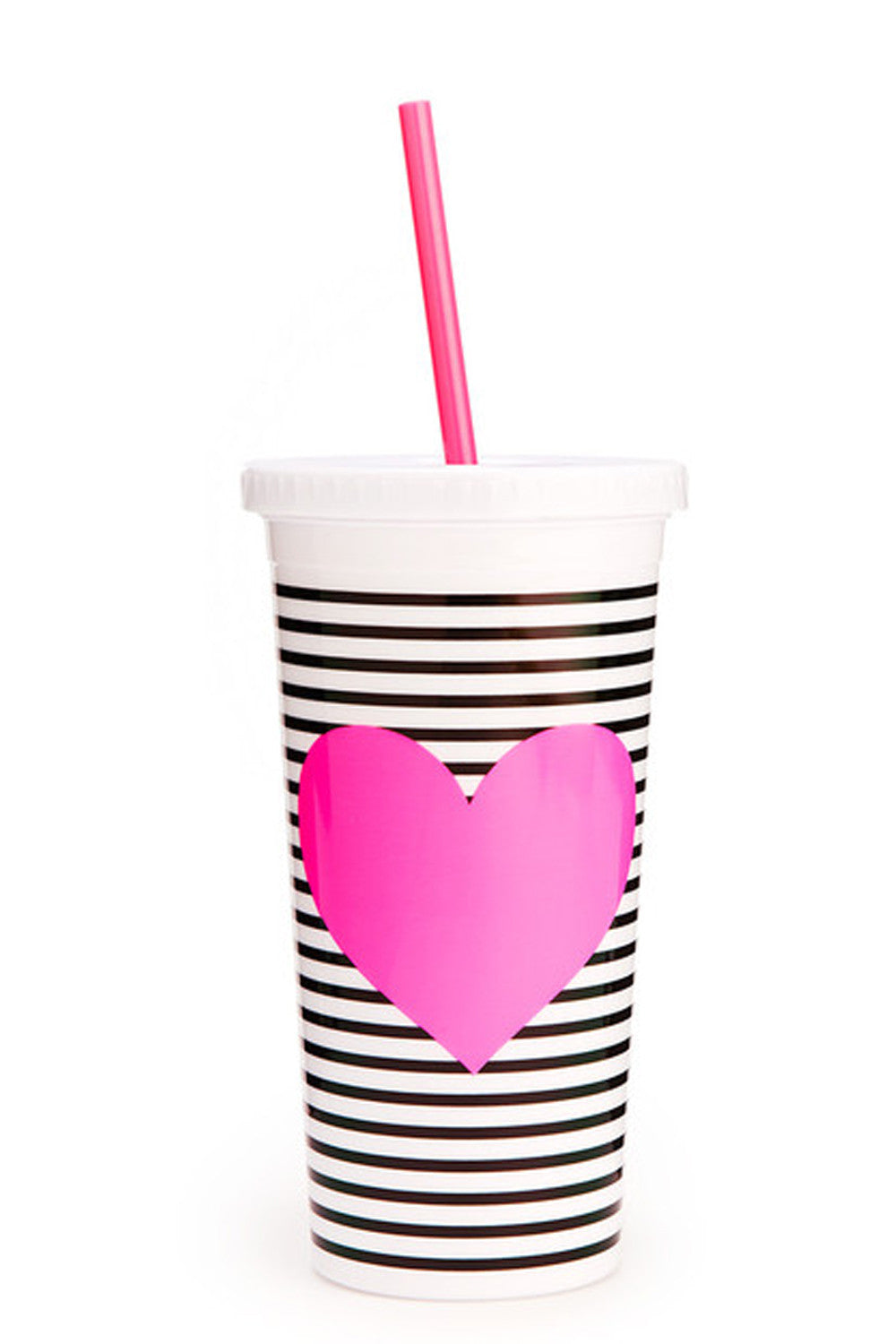 Sip Sip Tumblr with Straw- Neon Heart