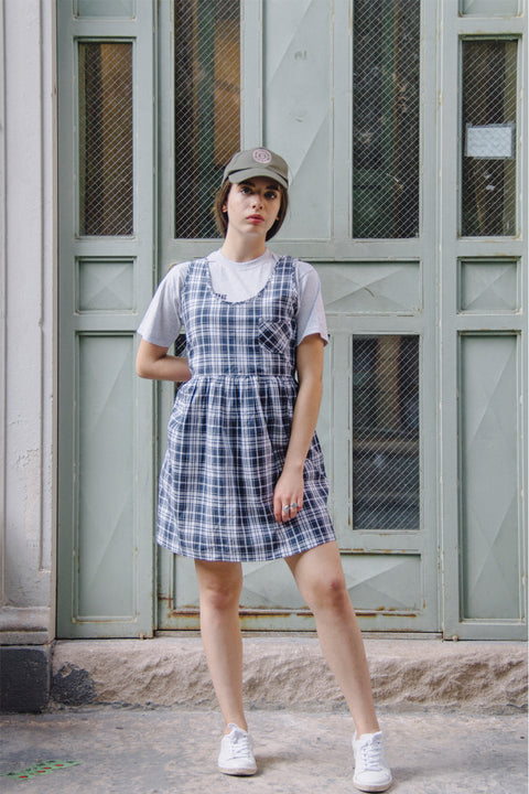 Blue Plaid Sleeveless Smock