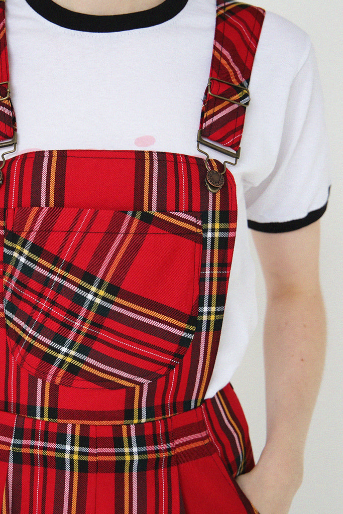 Polly Dungarees- Red Tartan