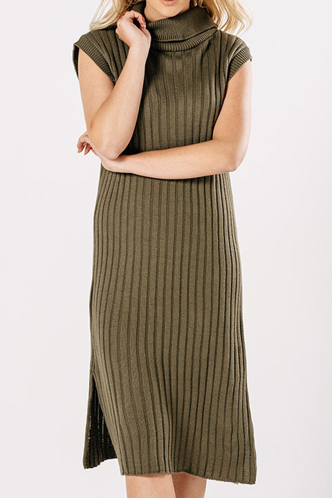 Green Ribbed Knit dress