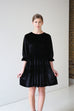 Darla Black Ruffle Velvet Dress