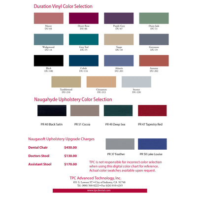 image of color swatches for TPC Mirage Orthodontic Hydraulic Patient Chair #3000