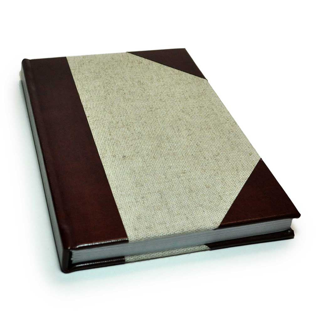 Bonded Leather and Natural Linen Quarter Bound Book
