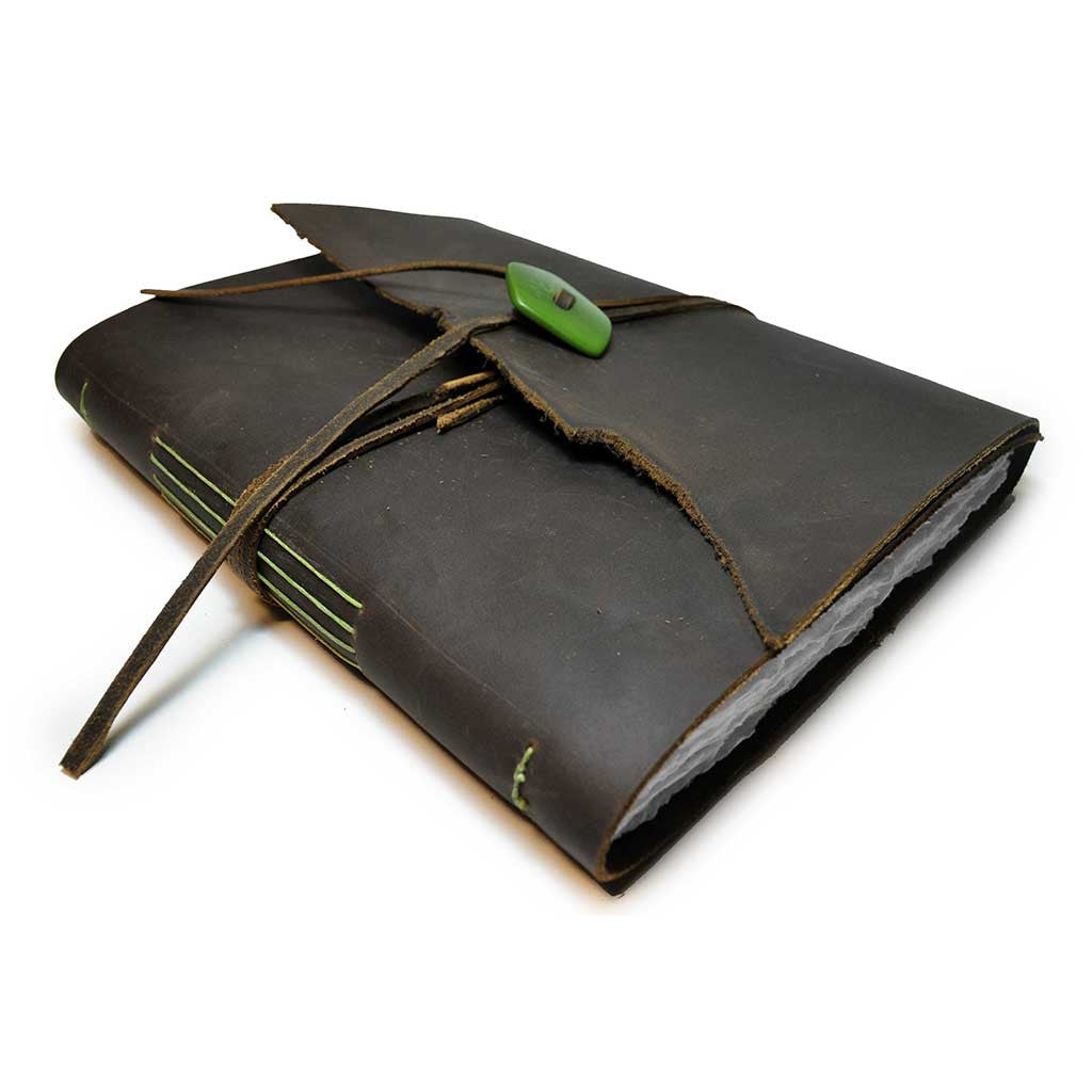Genuine Leather with Green Button Wrap