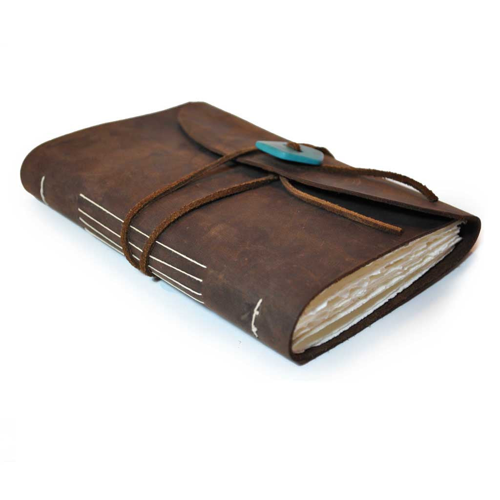 Genuine Leather Book with Turquoise Button Wrap