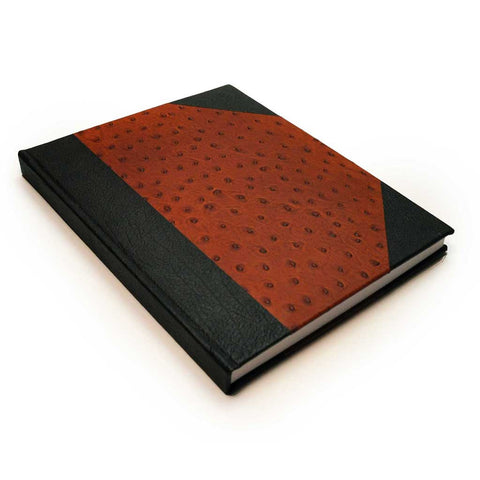 Ostriched Embossed and Brown Leather Wingtip Book