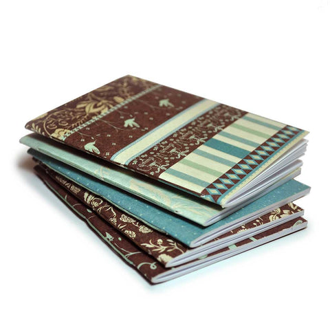 Mini Notebooks Blue & Brown 6 Pack