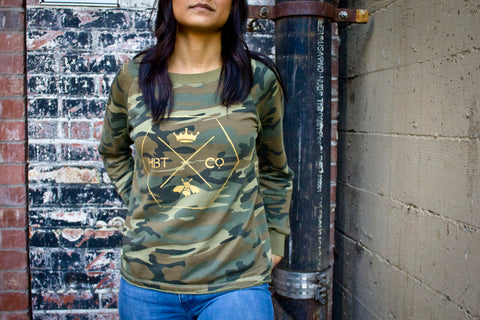 Honeycomb logo // Women's camo printed terry pullover // Pre-order