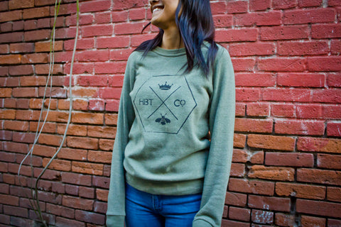 Honeycomb logo // Unisex army green fleece pullover // Pre-order