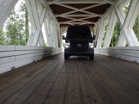 Sprinter Going Through The Larwood Bridge - Covered Bridge Tour Route in Linn County