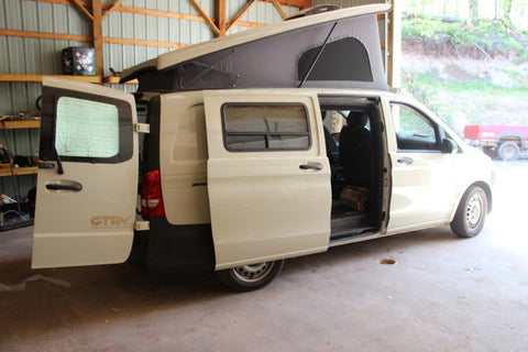 Metris conversion van by GTRV with insect screens installed