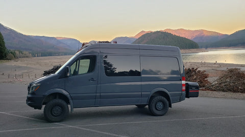 Sprinter Detroit Oregon with Fire Damage in Background