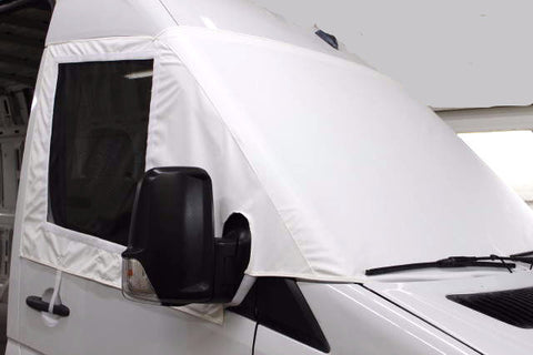 White Windshield Cover with Side Insect Screen for Sprinter Vans