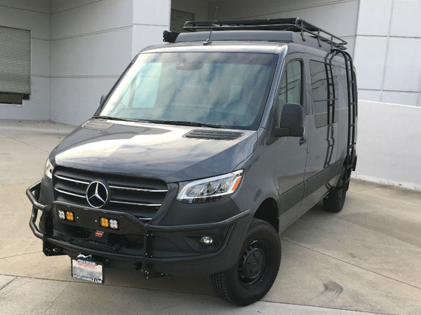Sprinter front receiver and hidden winch mount - shown with optional winch and light bar