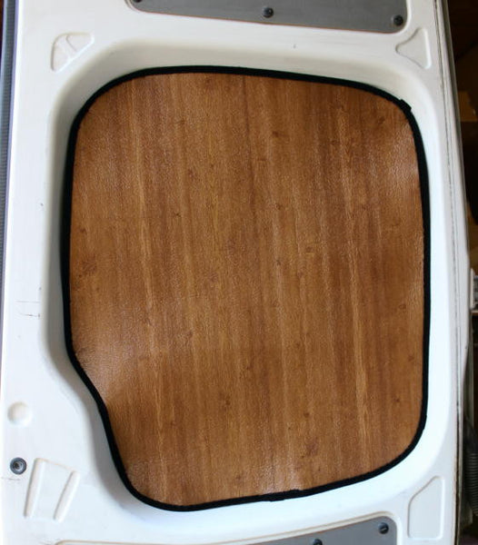Sprinter factory rear door window insulation in dark wood